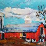 Country Dairy Barn and silos and tree by RD Riccoboni