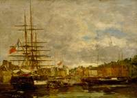 Eugène Boudin~Honfleur. Ships docked in the port