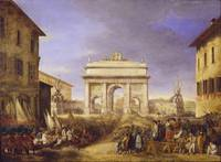 Felice Giani~Triumphal arch in Ponte sant'Angelo b