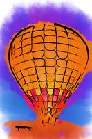 Peach Hot Air Balloon Night Glow Watercolor