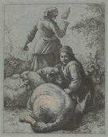 Francesco Londonio~Woman Spinner and a Shepherd wi