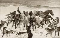 Frederic Remington~Broncos and Timber Wolves