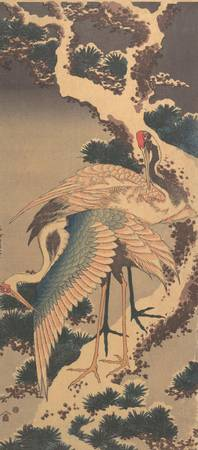 Hokusai~雪松に鶴Cranes on Branch of Snow-covered Pine