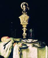 Georg Hainz~Still life with ivory goblet and oyste