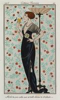 George Barbier~Black satin evening gown trimmed wi
