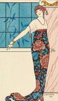 George Barbier~Evening gown with silk tunic embroi