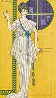 George Barbier~Satin and tulle evening gown with p