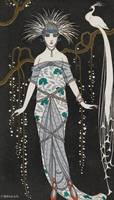 George Barbier~Silk evening gown with silver broca