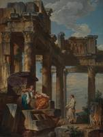Giovanni Paolo Panini~Figures Amongst the Ruins (R
