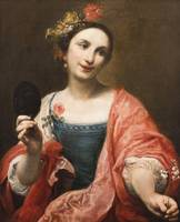 Giuseppe Crespi~Portrait of a Woman Holding a Mask