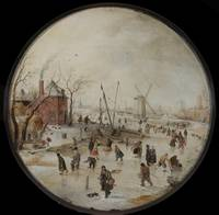 Hendrick Avercamp~Frozen River with Skaters