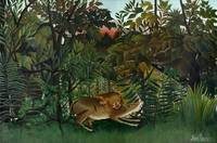 Henri Rousseau~The Hungry Lion Attacking An Antelo
