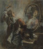Honoré Daumier~Actor Posing in Front of a Mirror