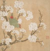 Huang Jucai~Parrot and insect among pear blossoms