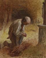 James Crawford Thom~Woodcutter Kneeling before a F