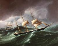 James E. Buttersworth~Clipper Ship WARNER Rounding
