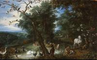 Jan Brueghel the Elder~The Garden of Eden with the