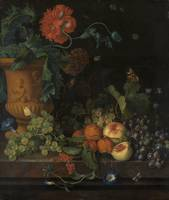 Jan van Huysum~Terracotta Vase with Flowers and Fr