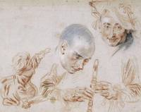 Jean-Antoine Watteau~Crouching Child, Two Male Hea
