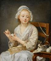 Jean-Baptiste Greuze~The Wool Winder