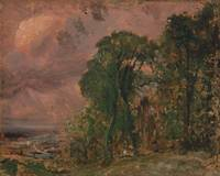 John Constable~A View at Hampstead with Stormy Wea