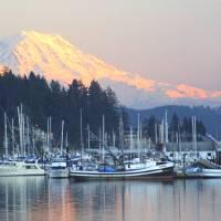 """Gig Harbor ; Mt Rainier at Sunset"" by reynolds"