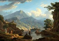 John Knox~Landscape with Tourists at Loch Katrine