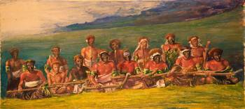 John La Farge~Chiefs and Performers in War Dance,