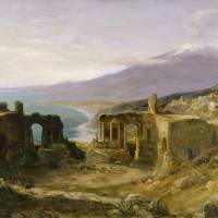 """""""John MacWhirter~Mount Etna from the Greek Theatre,"""" by Old_master"""