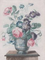 Louis-Marin Bonnet~Bouquet of Roses, Larkspur and