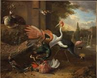 Melchior d'Hondecoeter~A Peacock Attacking a Roost