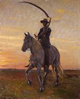 Michael Ancher~Young harvester riding home