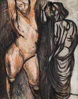 José Clemente Orozco~Nude and Dressed Figure