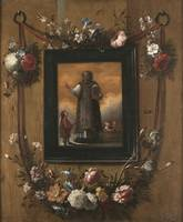 Juan José del Carpio~Wreath of flowers with Saint