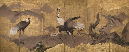 Kano School~Folding Screen with Design of Cranes a