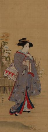 Katsukawa Shunshō~Woman in lavendar near a fence w