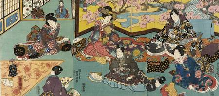 Kunisada~Fashionable Man Entertained in a House of