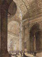 Louis-Jean Desprez~Interior of St. Peter's Illumin