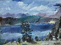 Lovis Corinth~Walchensee with larch