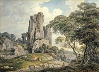 Michael Angelo Rooker~A view of a ruined castle