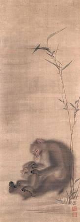 Mori Sosen~Monkey Grooming Offspring near Bamboo