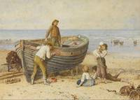 Myles Birket Foster~Boat, Figures and Sea