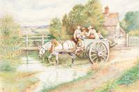 Myles Birket Foster~Children in a Cart