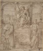 Niccolò dell'Abbate~Madonna and Child Enthroned wi