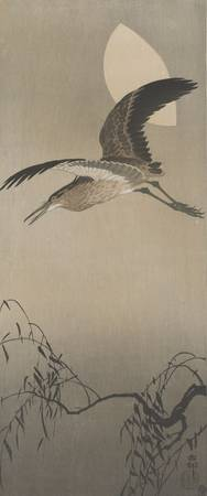 Ohara Koson~Night heron in flight
