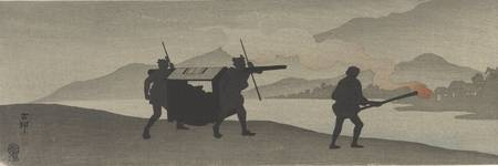 Ohara Koson~Silhouetted palanquin bearers and man