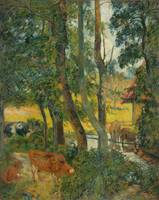 Paul Gauguin~Landscape in Normandy (Cows at the Tr