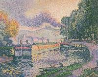 Paul Signac~The Tugboat, Canal in Samois