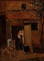 Pieter de Hooch~Girl Washing Clothes