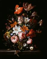 Rachel Ruysch~Flowers in a Glass Vase